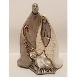 Sagrada Família Abstracta em Porcelana Prata com Manto Pérola - 24 cm