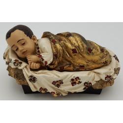 Menino Jesus em Marfinite Deitado em Cama Folha de Ouro - 20 cm